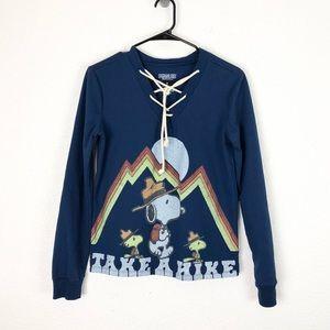Peanuts Lace Up Boho Desert Sweater Blue Snoopy